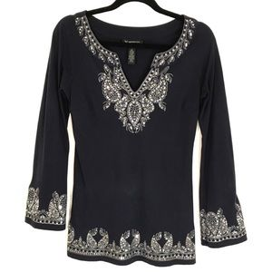 INC Embroidered Sequin Top